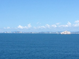 view of Mazatlan from the ferry