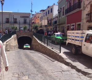 Tunnels and the network or road underground the city centre in Guanajuato