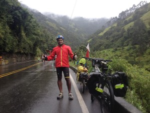 Climbing La Linea in the rain