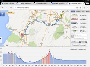Bogota to Cali route profile