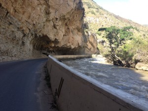 The canyon walls that gave way for road space