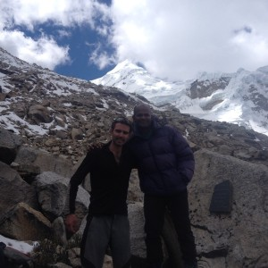 Paul and i during the acclimatisation walk, Tocillaraju on the background