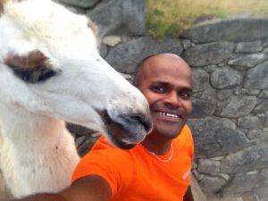 Selfie with Llama at Machu Picchu
