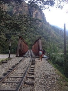 No, this is not Calais, Eurostar does not run here and these are not migrants. These are people who choose the cheaper option to visit Machu Picchu. Hidroelectrica to Aguas Calientes walk along the rail road