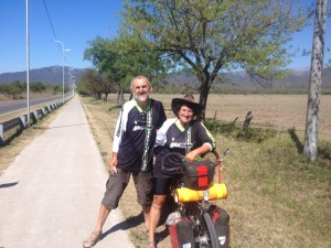 The French couple from Toulouse who sold their house and business and have been on their bikes for the last four years - very inspirational