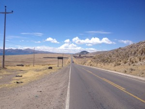 Some straight roads in the altiplano